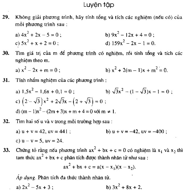 Giải bài 29 30 31 32 33 trang 54 sgk toán 9 tập 2