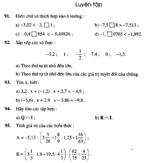 Luyện tập: Giải bài 91 92 93 94 95 trang 45 sgk toán 7 tập 1