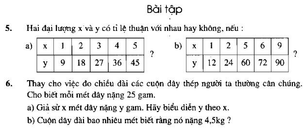 Giải bài 5 6 trang 55 sgk toán 7 tập 1
