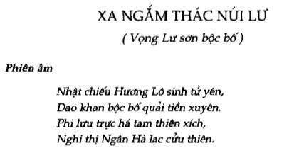 Soạn bài Xa ngắm thác núi Lư (Vọng Lư sơn bộc bố) sgk Ngữ văn 7 tập 1