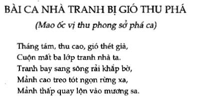 Soạn bài Bài ca nhà tranh bị gió thu phá (Mao ốc vị thu phong sở phá ca) sgk Ngữ văn 7 tập 1