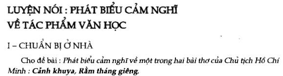 Soạn bài Luyện nói: Phát biểu cảm nghĩ về tác phẩm văn học sgk Ngữ văn 7 tập 1