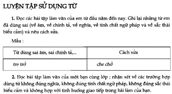 Soạn bài Luyện tập sử dụng từ sgk Ngữ văn 7 tập 1