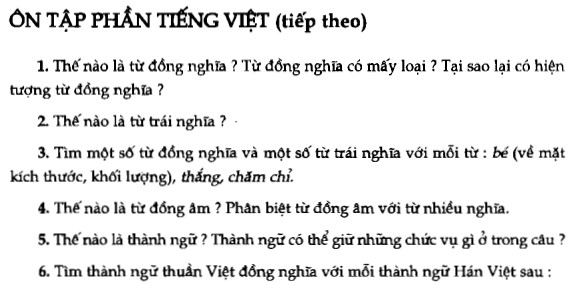 Soạn bài Ôn tập phần Tiếng Việt (tiếp theo) sgk Ngữ văn 7 tập 1