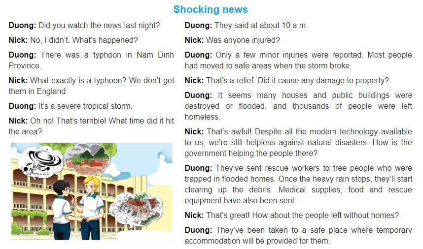 Unit 9: Natural disasters trang 26 sgk Tiếng Anh 8 tập 2